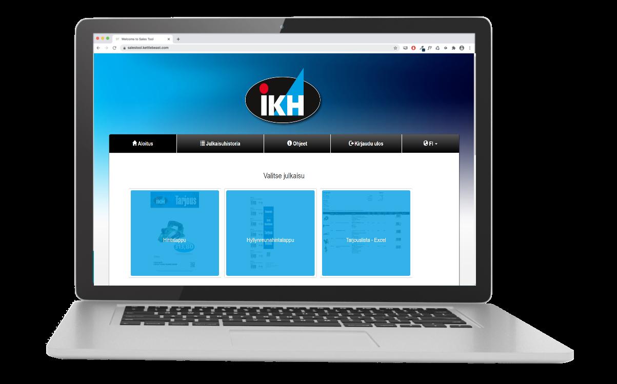 Adeona Sales Tool käyttöliittymä